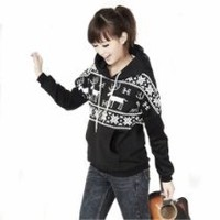 Winter Womens Deer Hooded Hedging Loose Sweater Coat 3 Colors New Arrival Super (Black)