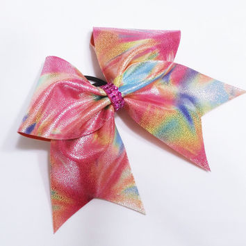 Cheer bow, Rainbow cheer bow, cheerbow, cheerleading bow, cheerleader bow, dance bow, softball bow, rec cheer bow, cheer camp bow