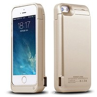Kujian iPhone 5 5S 5C SE Battery Case External Portable Battery Charging Case 2200 Mah for iPhone 5 5S 5C SE with 4 LED Lights and Built-in Kickstand Holder (Gold)