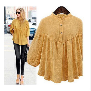 Plus Size Women's Fashion Cotton Linen Shirt [6339069633]