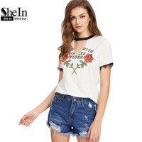 SheIn Casual T shirts Women 2017 Summer Contrast V Cut Out Neck Lace Trim Rose Print Tee White Short Sleeve T-shirt