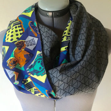 Doctor Who Inifinity Scarf, Dalek, Cybermen, Tardis, Dr. Who, Hipster, Fashion Accessory, Circle Scarf, Gift, Present, BBC