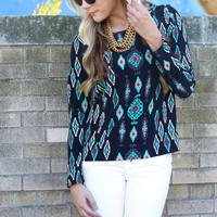 Turquoise Peddler's Blouse