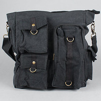 The Vintage MultiPocket Shoulder Bag in Black : Rothco : Karmaloop.com - Global Concrete Culture