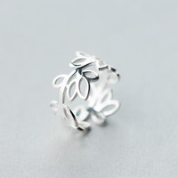 S925 Silver Ring, Vogue Hollowed Out Leaf Ring, Exaggerated Broad Face Branch, Index Ring J2411  171204