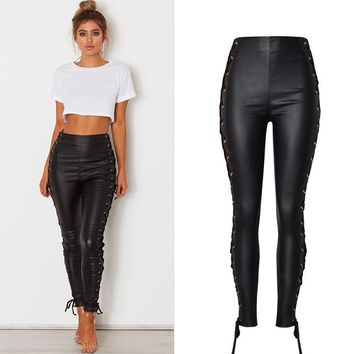 8DESS Lace Up Black Leather Pants Women High Waist Trousers Belted Pencil Pants