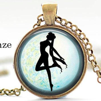 sailor moon silhouette fullmoon Pendant Necklace Jewelry Anime otaku Geekery video game pc game pendant gift for him for her for men