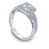 Kirk Kara hand-engraved diamond square halo engagement ring with a princess cut center from the Kirk Kara Carmella collection crafted with 0.32 carats of diamonds