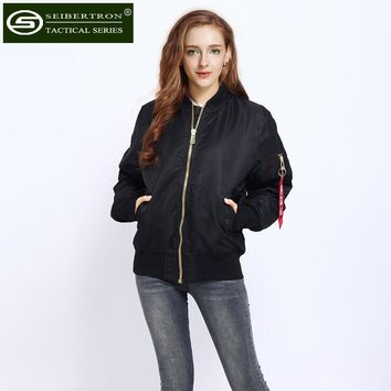 Seibertron Woman MA-1 Flight Bomber Jacket Black Female Military Air Force MA1 Coat Olive COMBAT BIKER ARMY SECURITY