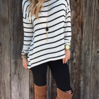 White Loose Stripe Long Sleeve Shirt