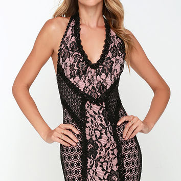 Haute Shot Pink and Black Lace Bodycon Dress