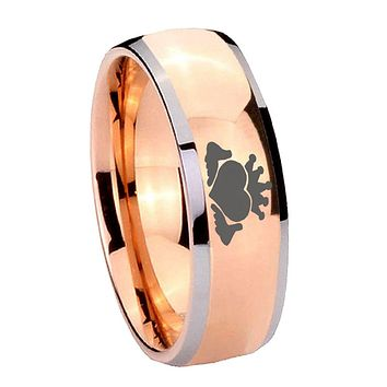 8MM Rose Gold Dome Claddagh Design 2 Tone Tungsten Carbide Laser Engraved Ring