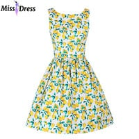 2016 New Style 50s Vintage Audrey Hepburn Summer Women Lemon Printed Dresses Retro Party Rockabilly Big Swing Dresses MISSDRESS