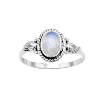 Sterling Silver Rainbow Moonstone Roped Leaf Ring