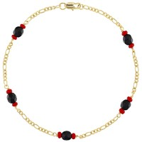 14k Gold Plated Energy Evil Eye Protection Simulated Azabache Anklet Ladies 10""