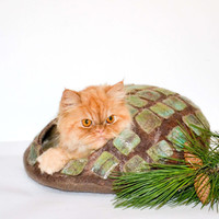 cat bed woodland, felted cats cave green olive brown