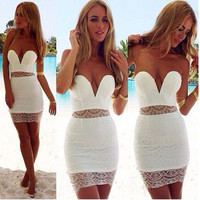 Fashion Deep V lace  stitching Party dress ERG66S