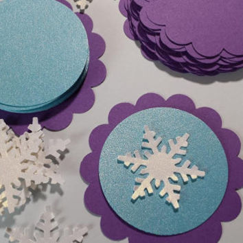 20 DIY Frozen Snowflake Tags, DIY Snowflake Tags, Frozen Snowflake Cupcake Toppers, Purple, Aqua