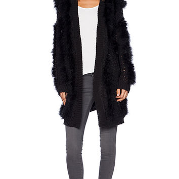 J.O.A. Faux Fur Cardigan in Black