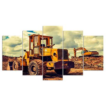 5 Panel Painting Canvas Bulldozer Heavy Equipment Wall Art Picture Home Wall Art