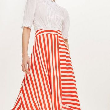 PETITE Striped Hanky Hem Skirt | Topshop