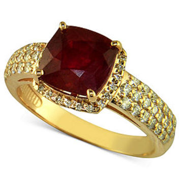 Rosa by Effy 14k Rose Gold Ring, Ruby (3-1/8 ct. t.w.) and Diamond (1/2 ct. t.w.) - Rings - Jewelry & Watches - Macy's