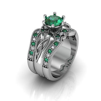 Sterling Silver Created Emerald Celtic Knot  Love and Friendship Engagement and Promise Solitaire Ring Trio Set