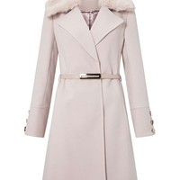 Nude Faux Fur Trim Belted Coat - Coats & Jackets - Clothing