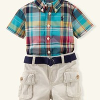 Plaid Shirt & Cargo Short Set