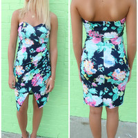 Malibu Floral Print Fitted Front Wrap Tube Dress