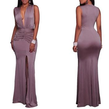 Purple Pleated Slit Deep V-neck Mermaid Prom Evening Party Maxi Dress