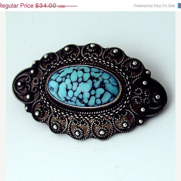 SALE - 950 Silver Glass Brooch Vintage Blue Art Glass with Granular Accents