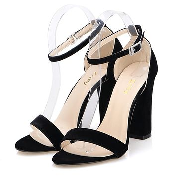 Women Open Toe  Ankle Straps Sandals High Heels Summer Suede Thick Heel Pumps