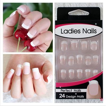 72Pcs/Lot Natural Realistic Fake Nails Nail Art Make up full cover False Nails Sticker Tips French Manicure Artificial Nails Gel