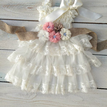 Flower girl dress and sash, ivory flower girl dress, dusty rose flower girl sash, burlap flower girl sash, rustic flower girl dress