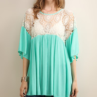Green Lace-Accent Babydoll Tunic