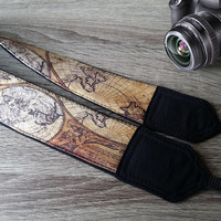Padded Camera Strap. Map Camera Strap. Gift For Men.  Accessories