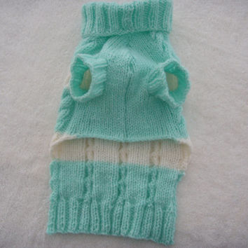 Hand knit Dog clothes, dog jumper, pet clothes, in mint green and cream, with a roll neck for warmth. will hand knit to fit all sizes.