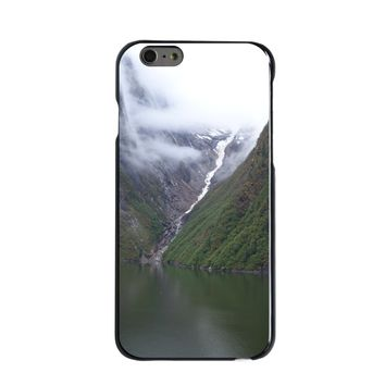 DistinctInk® Hard Plastic Snap-On Case for Apple iPhone - Tracy Arm Fjord Waterfall