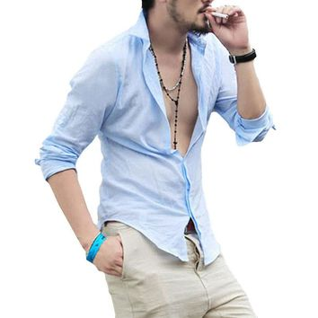 2017 New Summer Hot Thin Lightweight Hawaiian Shirt Men Cool Solid Cotton Linen Long Sleeve Casual Men Shirts M-XXL AYG238