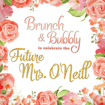 CUSTOM NAME and DATE Backdrop Watercolor Coral Floral Print Wife Fiancee Wedding Bride Future Mrs Shower Bridal Fabric Cloth Background