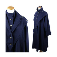 70s coat / Fendi / vintage 1970s Fendi coat / high fashion / designer coat / military / navy blue / cashmere / wool coat / size L XL