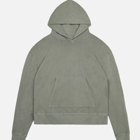 Oversized Cropped Hoodie / Olive