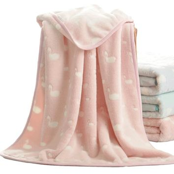 100x75/150x100cm soft light green/pink/blue swan blanket baby coral fleece flannel blanket kids throw nap blankets adult gift