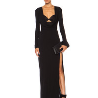 Matte Rayon Jersey Cutout Gown in Black