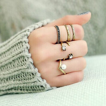 Gold Faux Pearl Rhinestone Caged Open Rings