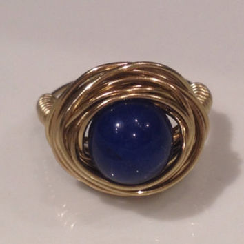 Nautical Navy blue and gold wrapped Malay Jade cocktail ring made to order