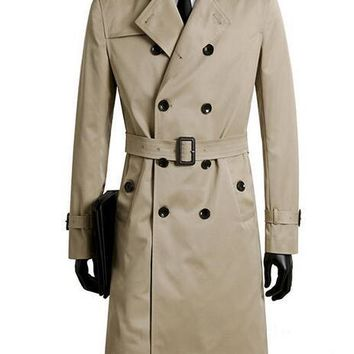 Male trench coat men's clothing plus size spring and long trench design double breasted coats men khaki outerwear fashion
