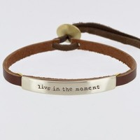 Live In The Moment Leather Bracelet Sienna Adjustable Silver Tone