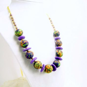 Clay Necklace in Lavender Green and Gold, Handmade